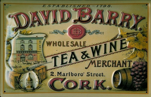 Blechschild David Barry Tea and Wine Cork Tee Reklame Schild Nostalgieschild
