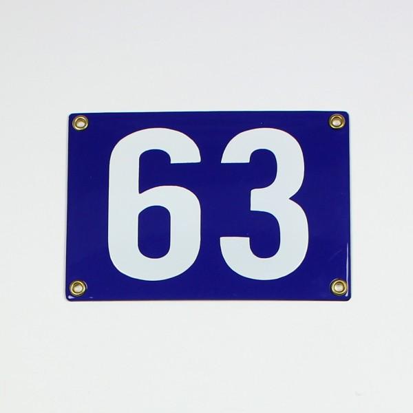63 blau ohne Rahmen Blockschrift 16x11 cm sofort lieferbar 2-stellig Schild Emaille Hausnummer