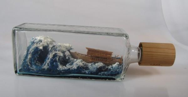 Buddelschiff mit Riesenwelle, Meisterwerk aus Japan