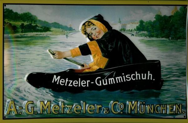 Blechschild Nostalgieschild Metzeler Gummischuh Boot