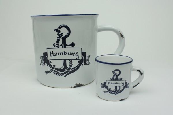"""2er Set Hamburg Anker + Mini Becher Kaffeebecher Kaffeepott weiß BLAU """"Rusty"""" Emaille Tasse Becher"""