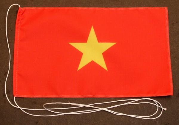 Tischflagge Vietnam 25x15 cm optional mit Holz- oder Chromständer Tischfahne Tischfähnchen