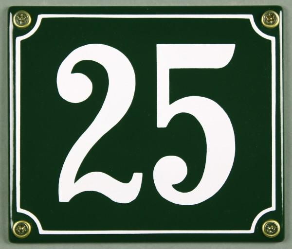 Hausnummernschild 25 grün 12x14 cm sofort lieferbar Schild Emaille Hausnummer Haus Nummer Zahl Ziffe