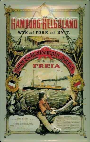 Blechschild Hamburg Helgoland Dampfsegler Freia Dampfer Schiff Schild Nostalgieschild