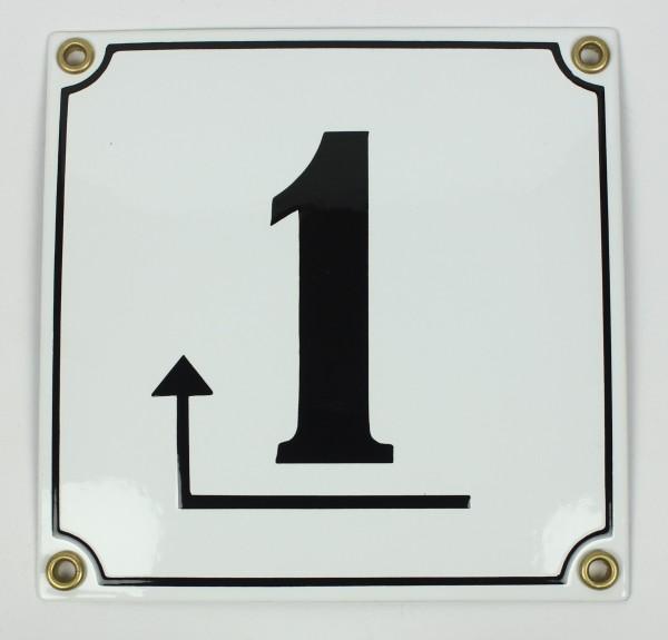 1 Pfeil links um die Ecke weiß Clarendon 14x14 cm sofort lieferbar Schild Emaille Hausnummer