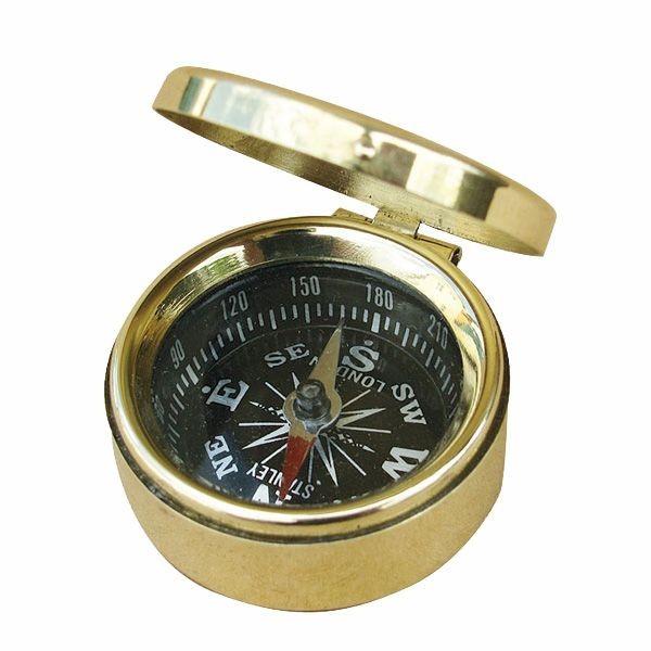Kompass klein mit Deckel Messing