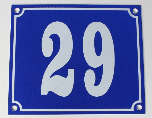 Hausnummernschild Aluminium Aluschild 1 mm Stärke Alu Schild Nr. 29 blau