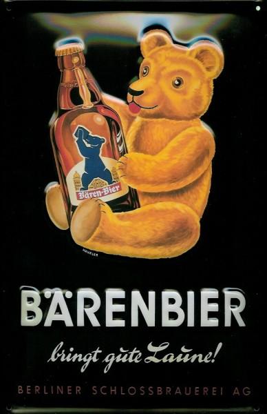 Blechschild Bärenbier bringt gut Laune Schild Bär Berlin Nostalgieschild