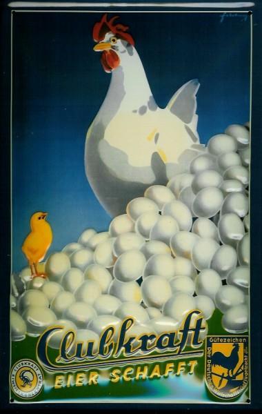 Blechschild Clubkraft Henne Eier Küken retro Reklame Schild Nostalgieschild