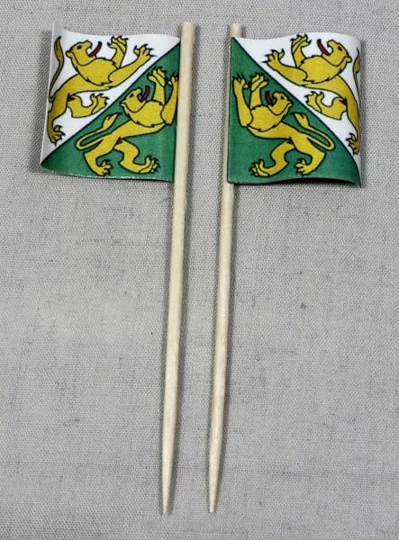 Party-Picker Flagge Thurgau Kanton Schweiz Papierfähnchen in Spitzenqualität 50 Stück Beutel