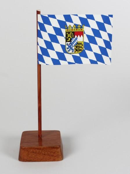 Mini Tischflagge Bayern mit Wappen und Raute Höhe 13 cm Tischfähnchen