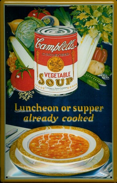Blechschild Campbells vegetable soup Gemüsesuppe Suppe Schild Nostalgieschild