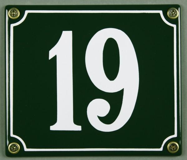 Hausnummernschild 19 grün 12x14 cm sofort lieferbar Schild Emaille Hausnummer Haus Nummer Zahl Ziffe