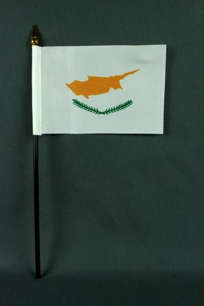 Kleine Tischflagge Zypern 10x15 cm optional mit Tischfähnchenständer
