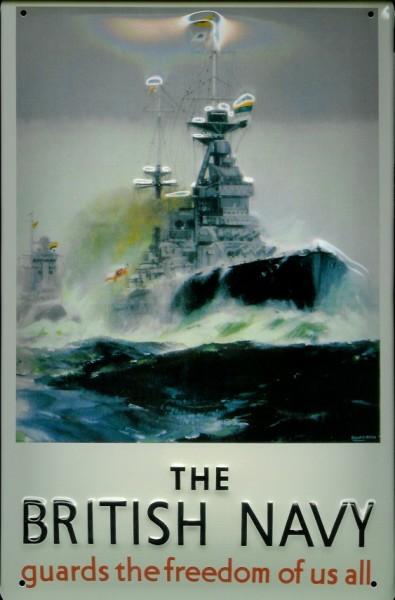 Blechschild British Navy Kriegsschiff Fregatte Zerstörer Dampfer Reedereiplakat Schiff Schild Nostal