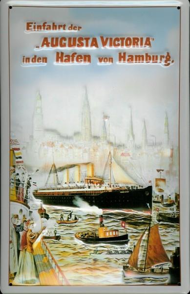 Blechschild Augusta Victoria Dampfer Hamburg Hafen Schiff Schild Nostalgieschild