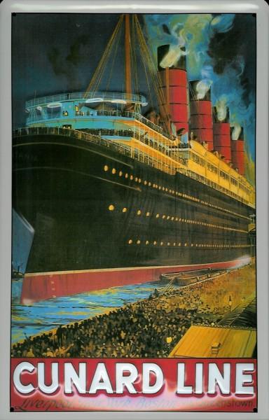 Blechschild Cunard Line Dampfer Liverpool New York Boston Schiff Schild Nostalgieschild
