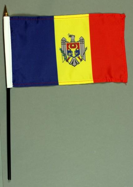 Tischflagge Moldawien 15x25 cm BASIC optional mit Tischflaggenständer