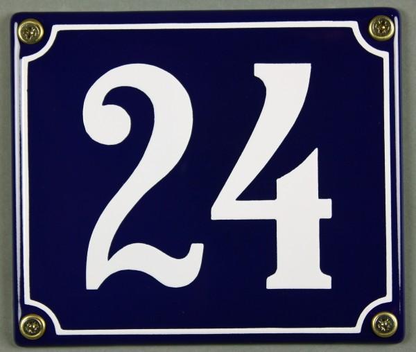 Hausnummernschild Emaille 24 blau - weiß 12x14 cm sofort lieferbar Schild Emaile Hausnummer Haus Num