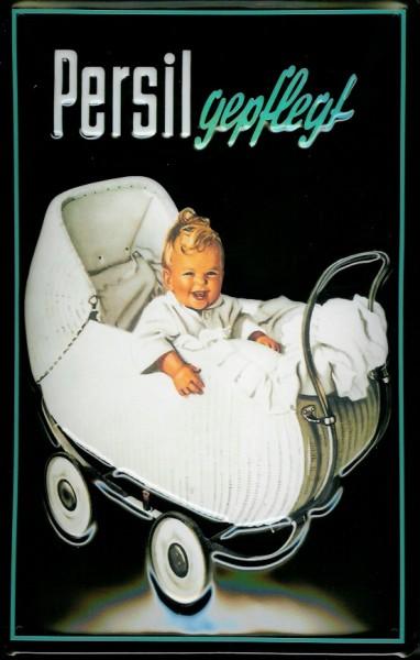 Blechschild Persil gepflegt Kinderwagen Waschpulver BabySchild retro Werbeschild Nostalgieschild