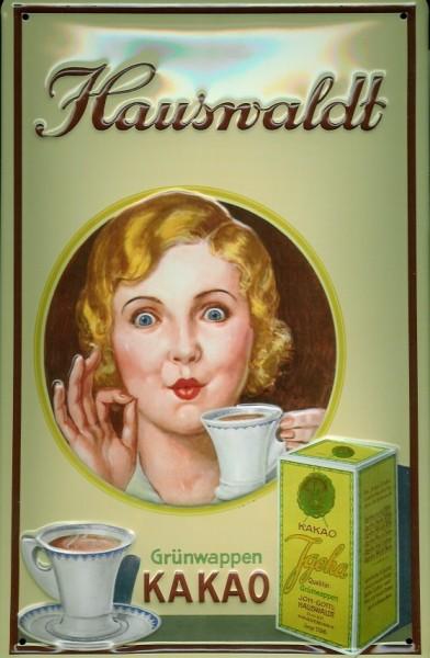 Blechschild Hauswaldt Kakao Tasse Grünwappen Schild Nostalgieschild
