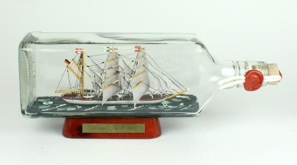 Gorch Fock eckige Ginflasche 0,7 Liter Buddelschiff Museumsqualität