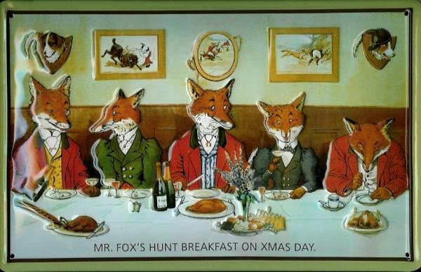 Blechschild Fox Hunt Breakfast Füchse am Tisch Blech Schild Souvenir Andenken