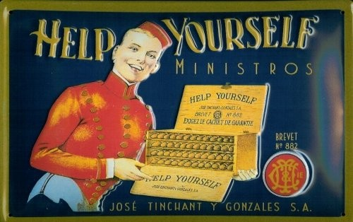 Blechschild Nostalgieschild Help Yourself Ministos Zigarren Hotel Page