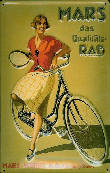 Blechschild Mars Fahrrad Werke Nürnberg Tennisschläger Schild Nostalgieschild