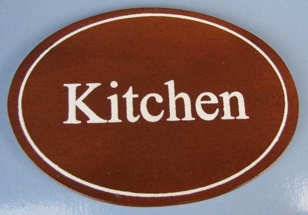 Ovales Holz - Türschild Kitchen 7x10 cm dunkles Holzschild