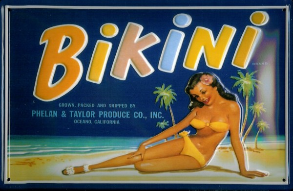 Blechschild Nostalgieschild Bikini Mädchen Südsee Strand