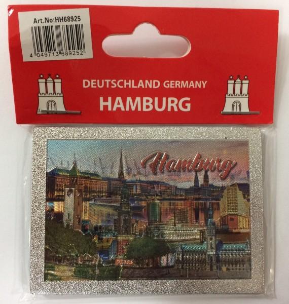 Magnet silber Metall geprägt Hamburg Wahrzeichen Souvenir Mitbringsel Geschenk Deko