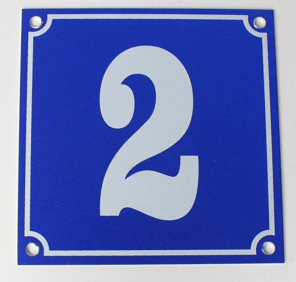 Hausnummernschild Aluminium Aluschild 1 mm Stärke Alu Schild Nr. 2 blau