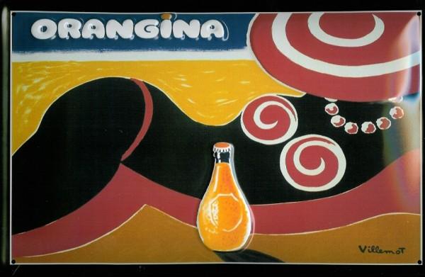 Blechschild Orangina Orangensaft Strand Querformat Schild Werbeschild