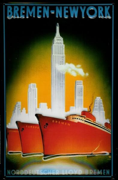 Blechschild Norddeutscher Lloyd Bremen New York rote Dampfer Reedereiplakat Schiff Schild Nostalgies