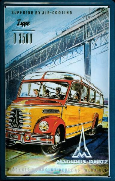 Blechschild Autobus Magirus Deutz D 3500 Bus Schild Werbeschild Nostalgieschild