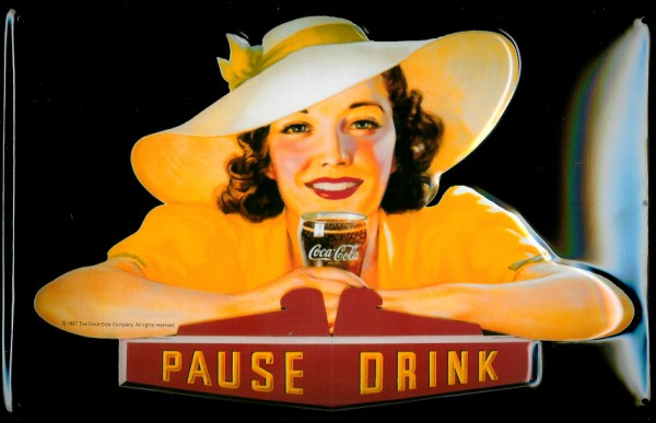 Blechschild Coca Cola Pause Drink Lady in gelb Coke retro Schild nostalgisches Werbeschild