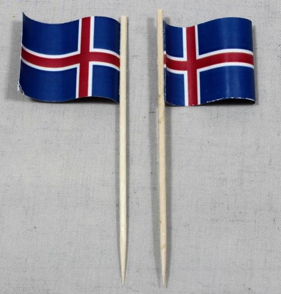 Party-Picker Flagge Island Papierfähnchen in Spitzenqualität 50 Stück Beutel