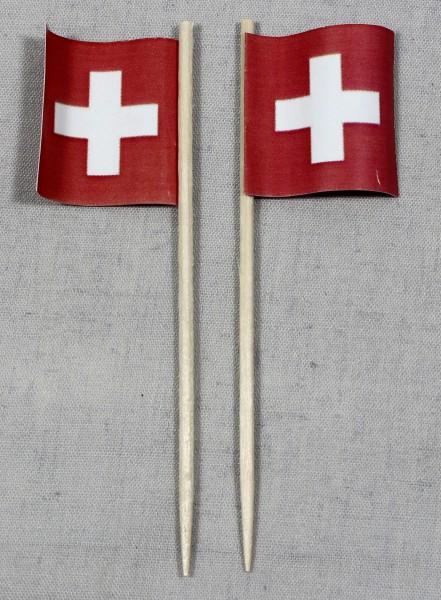 Party-Picker Flagge Schweiz quadratisch Papierfähnchen in Spitzenqualität 50 Stück Beutel