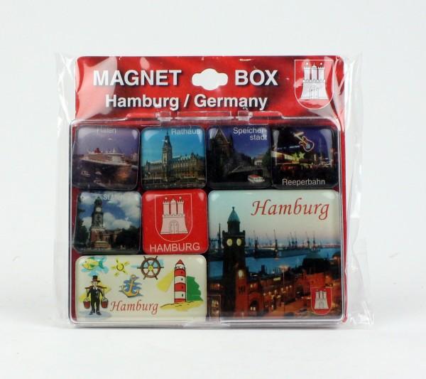 Magnet Set Hamburg Box diverse Motive 8-teilig Souvenirs Andenken