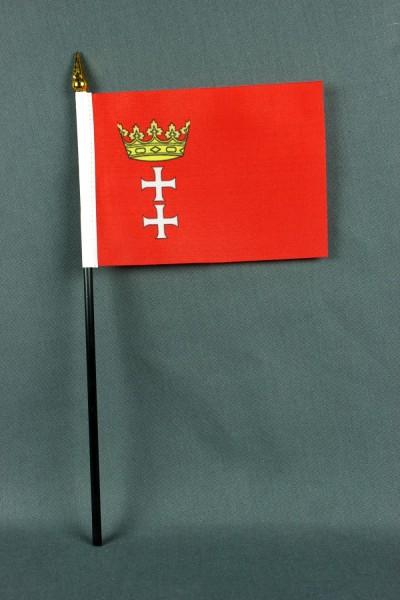 Kleine Tischflagge Danzig historisch 10x15 cm optional mit Tischfähnchenständer