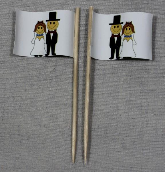 Party-Picker Flagge Hochzeit 2 Brautpaar Papierfähnchen in Spitzenqualität 50 Stück Beutel