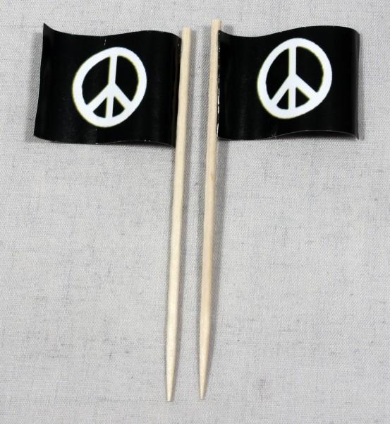 Party-Picker Flagge Peace Frieden Papierfähnchen in Spitzenqualität 50 Stück Beutel