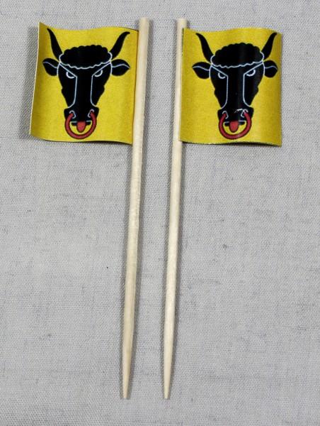 Party-Picker Flagge Uri Kanton Schweiz Papierfähnchen in Spitzenqualität 50 Stück Beutel