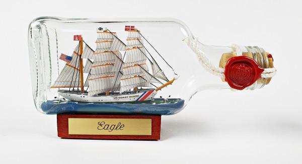 Eagle USA Coastguard Buddelschiff Flachmann 0,1 Liter ca. 14x7 cm Buddelschiff Flaschenschiff