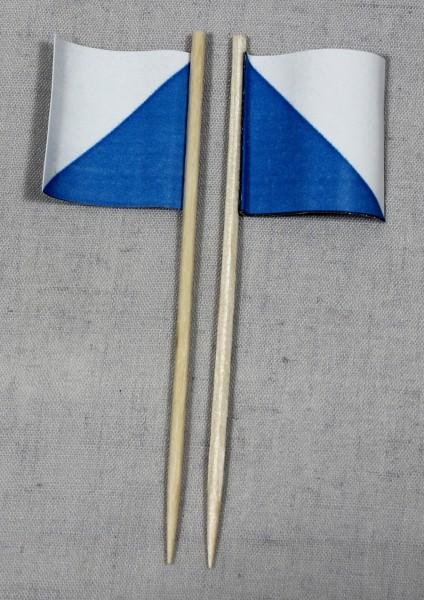 Party-Picker Flagge Zürich Kanton Schweiz Papierfähnchen in Spitzenqualität 50 Stück Beutel
