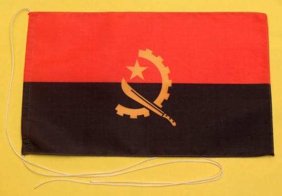 Tischflagge Angola 25x15 cm optional mit Holz- oder Chromständer Tischfahne Tischfähnchen