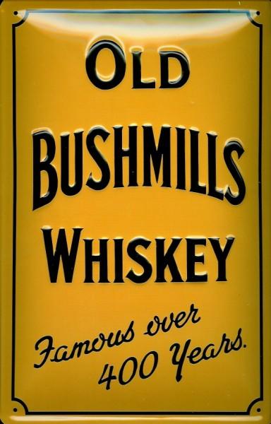 Blechschild Old Bushmills Irish Whiskey 300 Years (Gelb) Schild retro Werbung