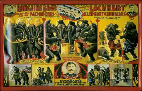 Blechschild Nostalgieschild Ringling Brothers Zirkus Elefanten