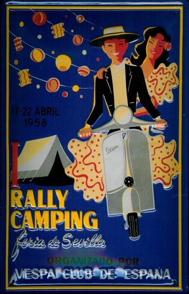 Blechschild Vespa Rally Sevilla Spanien 1958 Nostalgieschild Schild